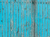 Turquoise wooden plank wall with peeling paint royalty free stock photo