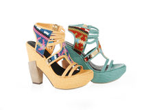 Turquoise and yellow shoes Stock Photo