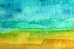 Turquoise and Yellow Watercolor 4 Stock Photo