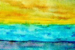 Turquoise and Yellow Watercolor 2 Stock Image