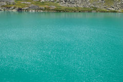 Turquose water texture and bank of the Akchan lake in the Altai mountains, Russia Royalty Free Stock Photography