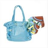 Turquuoise handbag and platform shoes Royalty Free Stock Photography