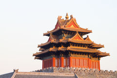 Turret. Corner turret in forbidden city, Beijing China royalty free stock photography