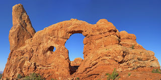 Turret Arch Arches National Park. Turret Arch, in the windows area of Arches National Park in Utah, USA Royalty Free Stock Photo