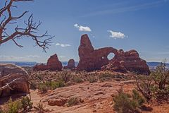 The Turret Arch B 1964. Turret Arch, one of the arches in Arches National Park. Utah Stock Image