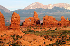 Turret Arch and La Sal Mountains Stock Photography