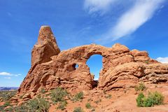 Turret Arch at Arches National Park in Utah, USA. Turret Arch in natural colors at Arches National Park in Utah, USA Stock Photo