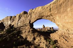 Turret Arch seen from North Window Arch, Arches National Park, U. Turret Arch Through North Window Royalty Free Stock Photos