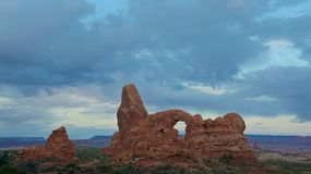 Turret Arch of Sandstone in Arches National Park, Utah Stock Photography