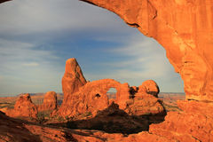 Turret Arch seen from North Window Arch, Arches National Park, U Stock Images