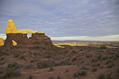 Turret Arch Sunrise, Arches National Park Stock Photos