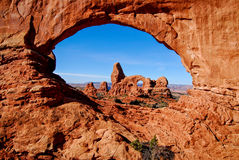Turret Arch. View of Turret Arch in Arches National Park, Utah stock photos