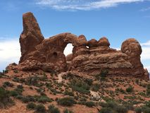 Turret Arch. View of Turret Arch at Arches National Park in Utah royalty free stock photo