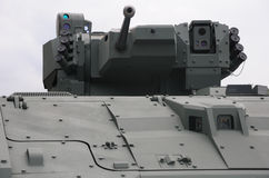 Turret of an armored personnel carrier vehicle. A photo taken on the turret of an armored personnel carrier vehicle showing the remotely operated cannon and stock photos
