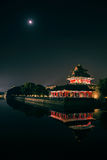 The turret of beijing forbidden city in night Stock Photography
