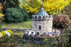 Turret in Bojnice, autumn park, seasonal colorful park scene Royalty Free Stock Photo