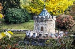 Turret in Bojnice, autumn park, seasonal colorful park scene. Turret in Bojnice, autumn park, lake and colorful trees. Slovak republic. Seasonal park scene Royalty Free Stock Photo