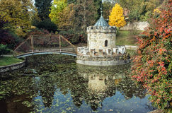 Turret in Bojnice, Slovakia, autumn park, seasonal colorful natural scene with lake. Turret in Bojnice, autumn park, lake and colorful trees. Slovak republic stock photo