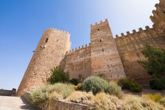 Turret of Burgalimar Castle in Banos de la Encina. Turret of landmark ancient arab Castle of Burgalimar, from X century, public monument in village Banos de la stock photo