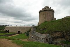 Dungeon tower at Fort la latte in Brittany, France. Turret and canonball oven, justed for heating the canonballs before shooting at ships to set them on fire Stock Photos