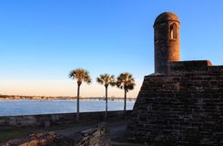 Turret of Castillo de San Marcos. In St. Augustine, FL stock photography