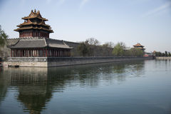 Turret. Chinese the Imperial Palace towers and moat Stock Images