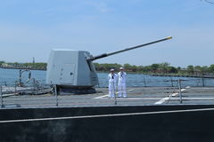 Turret containing a 5-inch gun on the deck of US Navy guided-missile destroyer USS Bainbridge Stock Image
