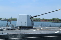 Turret containing a 5-inch gun on the deck of US Navy guided-missile destroyer USS Bainbridge Stock Images