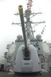 Turret containing a 5-inch gun on the deck of US Navy guided-missile destroyer USS Cole during Fleet Week 2014. NEW YORK - MAY 22: Turret containing a 5-inch gun Stock Photography