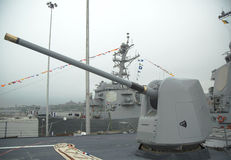 Turret containing a 5-inch gun on the deck of US Navy guided-missile destroyer USS McFaul during Fleet Week 2014 Stock Photo
