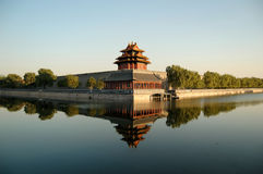Turret, Forbidden city. Turret and moat in the northwest corner of the forbidden city, Beijing China Stock Photography