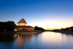 The turret of forbidden city at dusk Royalty Free Stock Photos