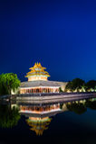 The turret of the forbidden city at dusk in beijing,China Royalty Free Stock Images