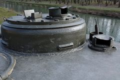 Turret hatch and two periscopes on T34 soviet WW2 main battle tank Stock Photography