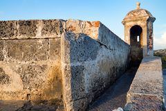 Turret and historic wall in Cartagena stock photo