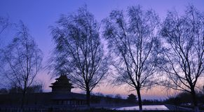 Turret of the Imperial Palace in forbidden city. The Turret of the Imperial Palace in forbidden city at sunset stock photo