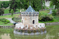 Turret in the lake. Bojnice castle, Slovakia royalty free stock photography