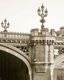 Turret and Lamp Post on Lendal Bridge in York England. Vertical black and white photography sepia tone Royalty Free Stock Photo