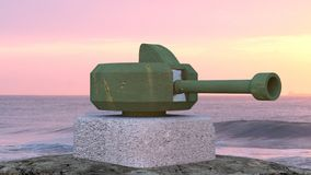 Turret. Military gun turret at sea side view stock image
