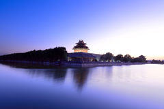 The turret and moat in beijing forbidden city Stock Images
