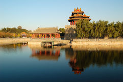 Turret, Moat, Forbidden City Royalty Free Stock Photography