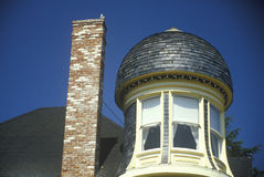 Turret next to chimney in house, Napa, CA Royalty Free Stock Image