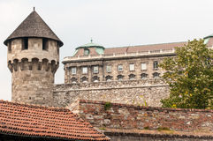 Turret & Palace, Buda, Hungary. A stone turret at the south end of Buda Castle in Budapest, Hungary Stock Images