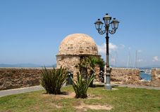 Turret on the walls of Alghero. Stock Photo