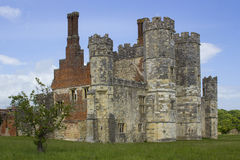 The turreta and ramparts of the ruins of Titchfield Abbey in Hamoshite. This ancient monastic site dates back to Tudor times in the 13th century stock photography