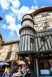 Turreted medieval bakers house in historic centre of Troyes with half timbered buildings. In Troyes, Aube, France on 31 August 2018 stock image
