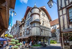 Turreted medieval bakers house in historic centre of Troyes with half timbered buildings. In Troyes, Aube, France on 31 August 2018 royalty free stock photos