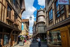 Turreted medieval bakers house in historic centre of Troyes with half timbered buildings. In Troyes, Aube, France on 31 August 2018 royalty free stock photo