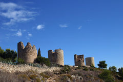 Turrets 3. Landmark turrets above Javea Southern Spain stock photo