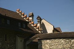 Turrets of the castle. Roof detail on the castle in Vaduz - Liechtenstein Stock Photography